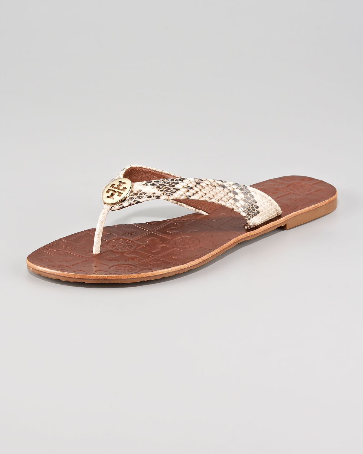 a8c9021996cd Lyst - Tory Burch Thora Snake print Thong Sandal in Metallic
