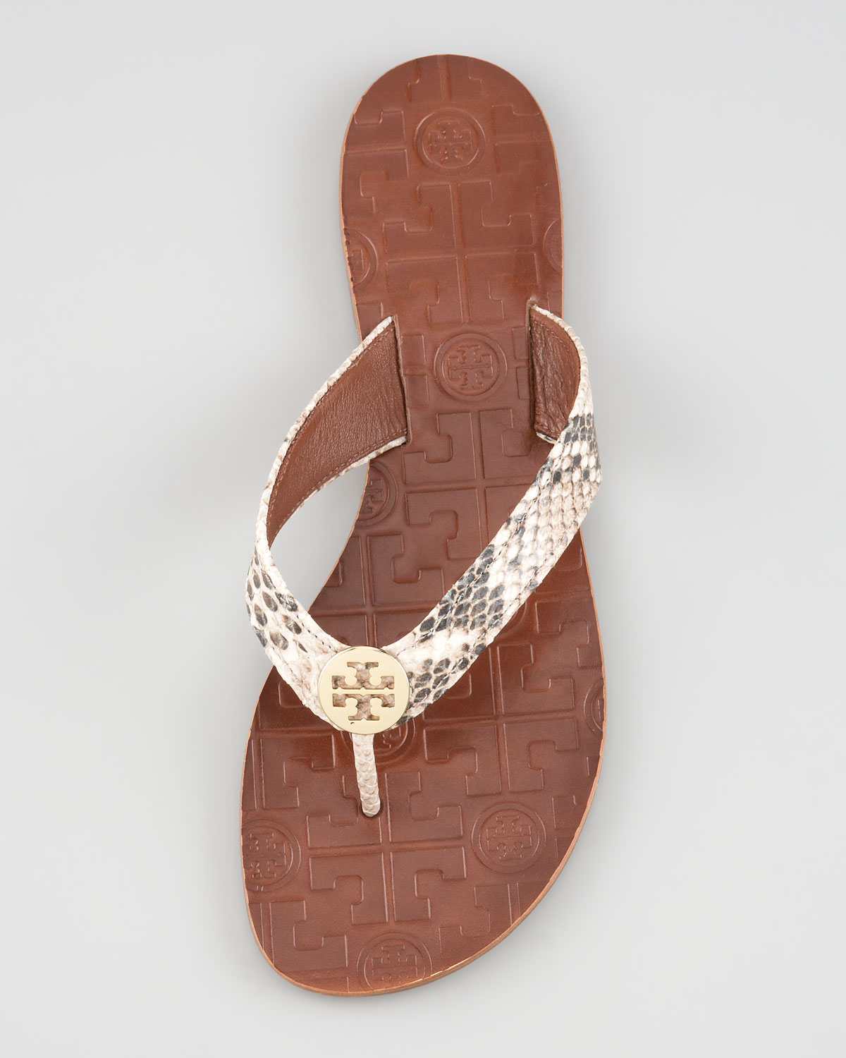 d477b3b41fcc4 Lyst - Tory Burch Thora Snake print Thong Sandal in Metallic