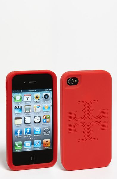 Tory Burch Kipp Perforated Iphone 4 4s Case in Red (tory red) - Lyst