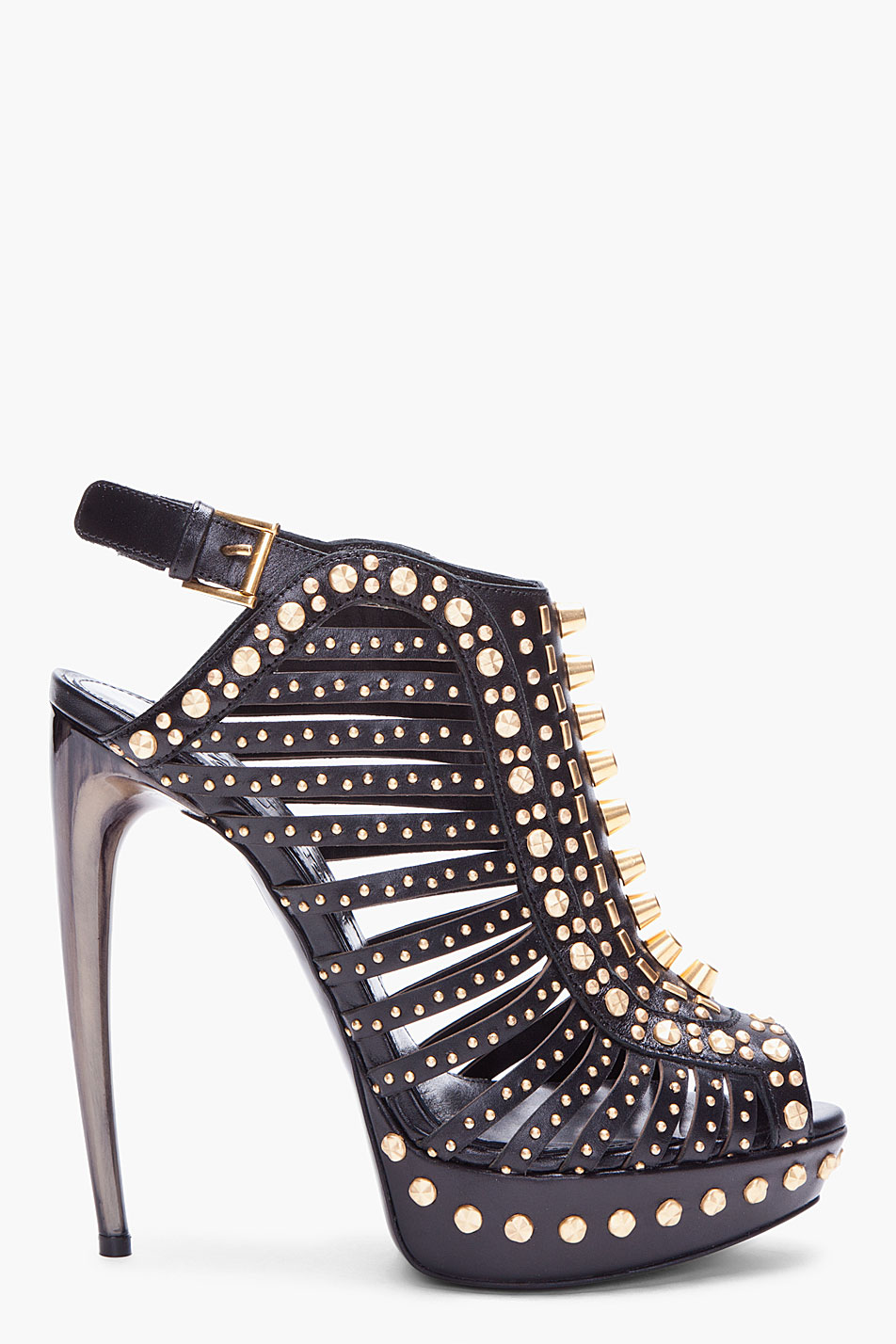 Alexander mcqueen Black Studded Heels in Black | Lyst