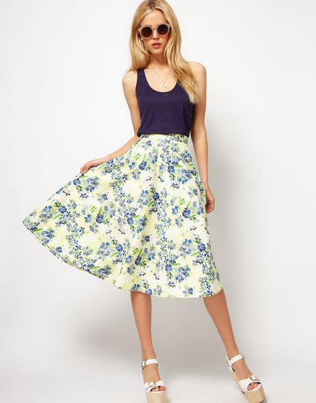 Asos Collection Asos Midi Skirt in Floral Print in Blue (yellowprint) - Lyst