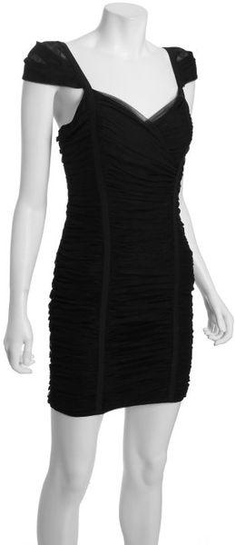 Bcbgmaxazria Black Tulle Princess Shirred Dress in Black - Lyst