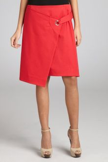 Celine Red Stretch Cotton Twill Foldover Flap Skirt - Lyst