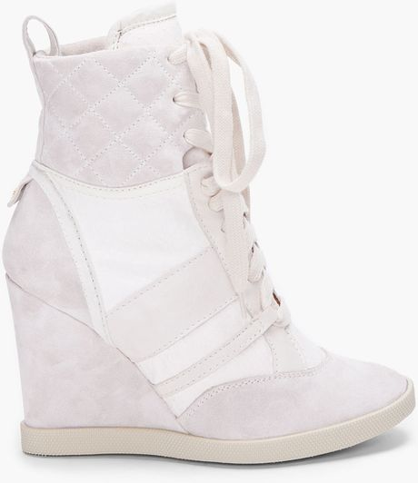 Chloé White Lizard Wedge Sneakers in White - Lyst