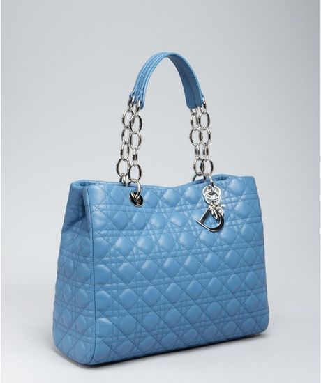 Dior Light Blue Cannage Lambskin Dior Soft Shopping Tote ...