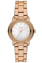 Dkny Glitz Small Round Dial Bracelet Watch in Gold (rosegold) - Lyst