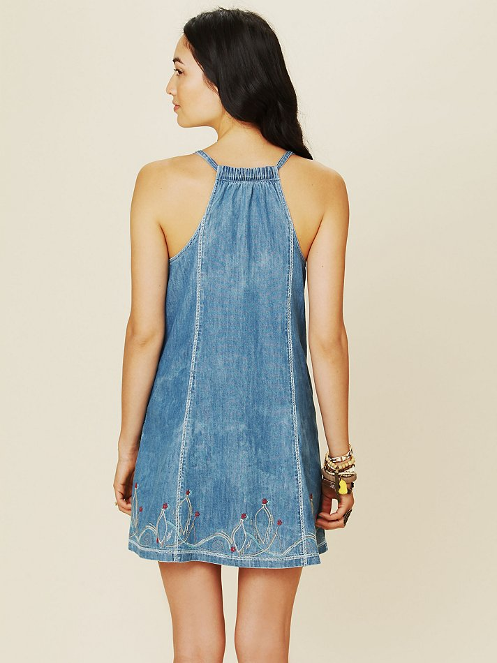 Lyst Free People Button Down Denim Dress In Blue