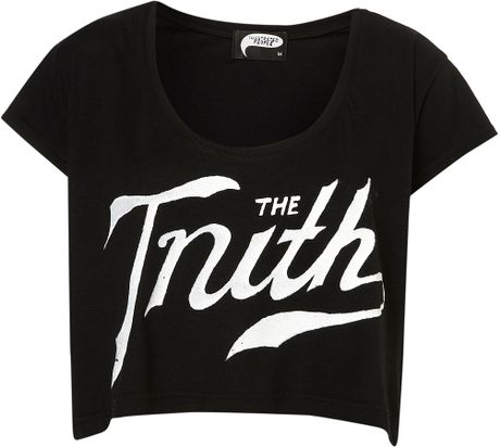Topshop The Truth Crop Top By Illustrated People in Black - Lyst
