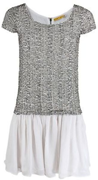 Alice + Olivia Alice Olivia Dress in Gray (silv/wht) - Lyst