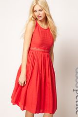 Asos Collection Asos Petite Exclusive Midi Dress with Full Skirt and Crochet Detail in Red - Lyst