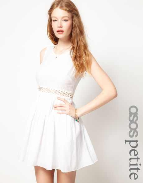 Asos Collection Asos Petite Exclusive Mini Dress with Crochet Waist in White - Lyst