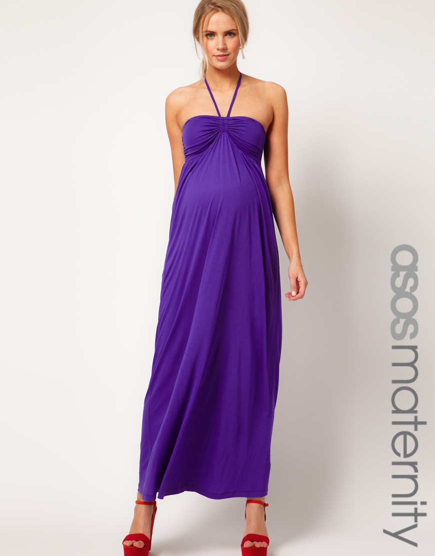 Lyst - Asos Asos Maternity Maxi Dress with Ruched Bust in Purple
