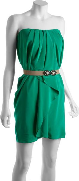Bcbgmaxazria Emerald Pleated Silk Belted Strapless Dress in Green (emerald) - Lyst