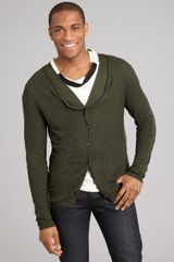 Bottega Veneta Forest Linen Blend Loose Knit Layered Button Cardigan in Green for Men (forest) - Lyst