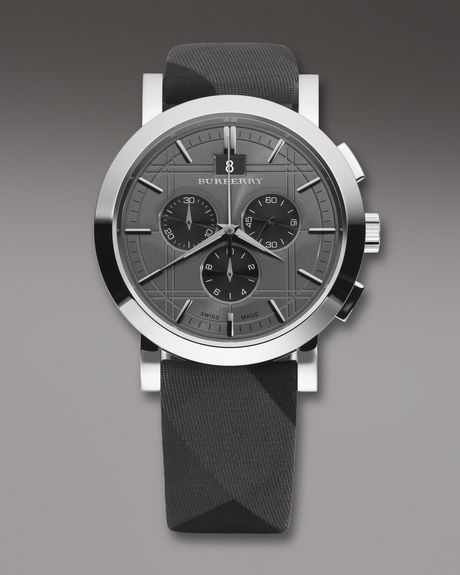 Burberry Checkstrap Chronograph Watch in Gray for Men (null) - Lyst