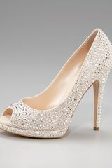 Casadei Crystal-covered Peep-toe Pump - Lyst