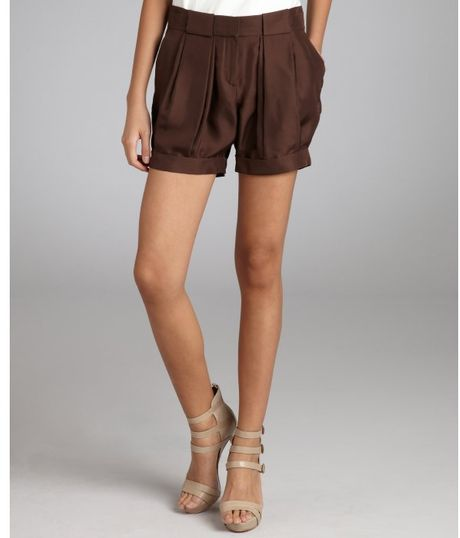 Celine Brown Silk Pleated Shorts in Brown - Lyst