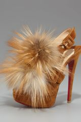 Christian Louboutin Splash Fur Slingback in Beige (cuir natural) - Lyst