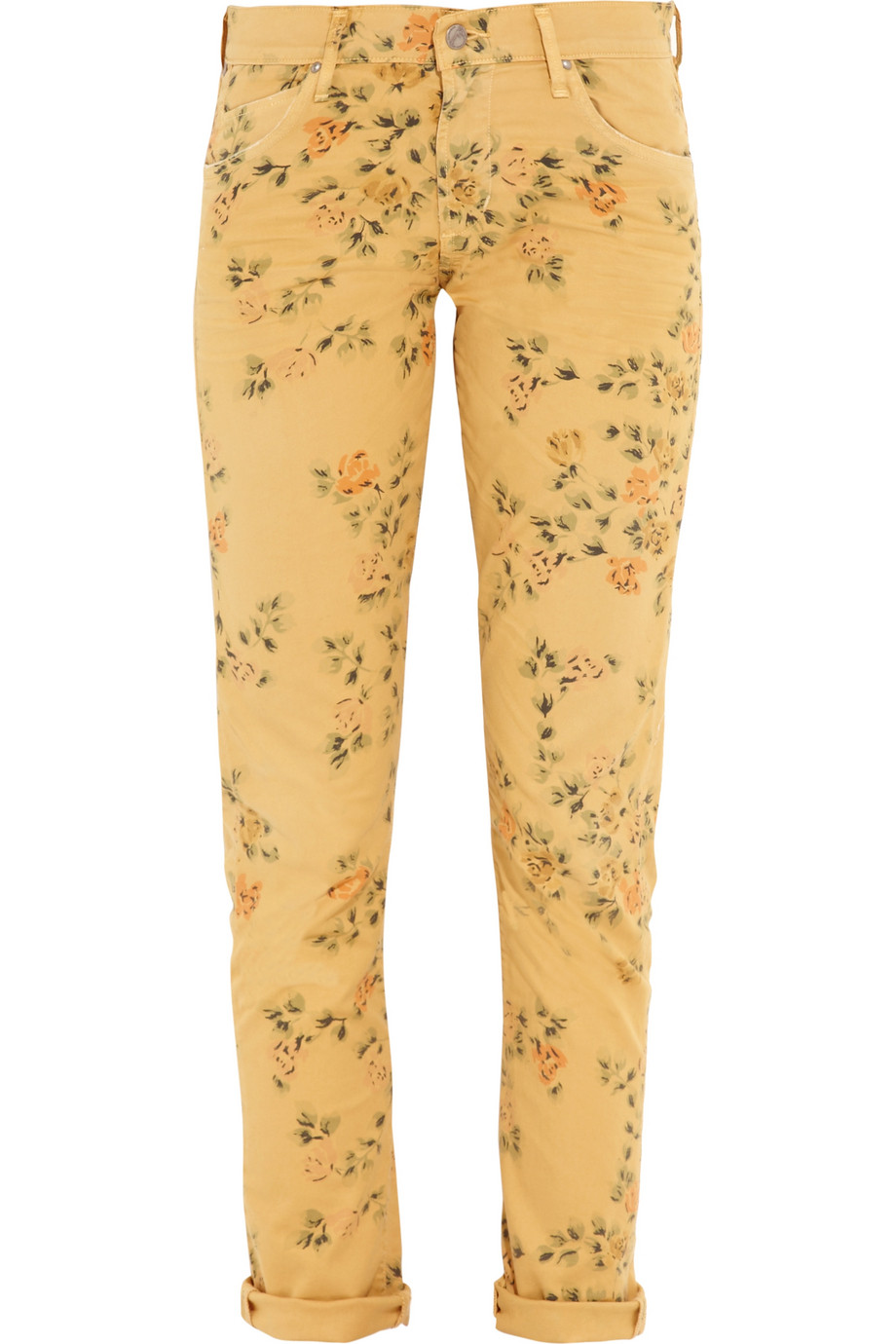 citizens of humanity mandy floralprint highrise skinny jeans in yellow floral lyst. Black Bedroom Furniture Sets. Home Design Ideas