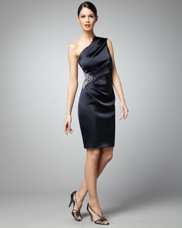 David meister Side-beaded One-shoulder Cocktail Dress in Black - Lyst
