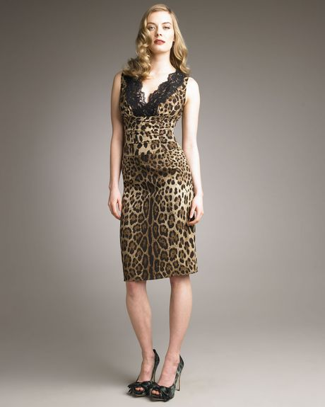 Dolce & Gabbana Laceneck Leopardprint Dress in Animal (leopard) - Lyst