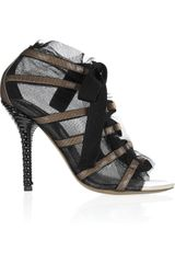 Dolce & Gabbana Meshoverlay Patent Leather Sandals in Brown (taupe) - Lyst