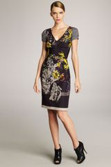 Etro Ruched Mixed-print Dress - Lyst