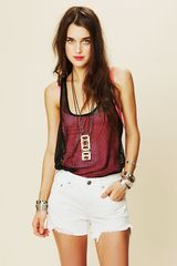 Free People Colored Denim Cutoff Shorts - Lyst