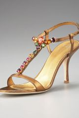 Giuseppe Zanotti Jeweled Metallic Leather Sandal in Gold (bronze) - Lyst