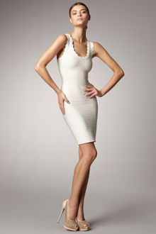 Hervé Léger Scalloped Bandage Dress - Lyst