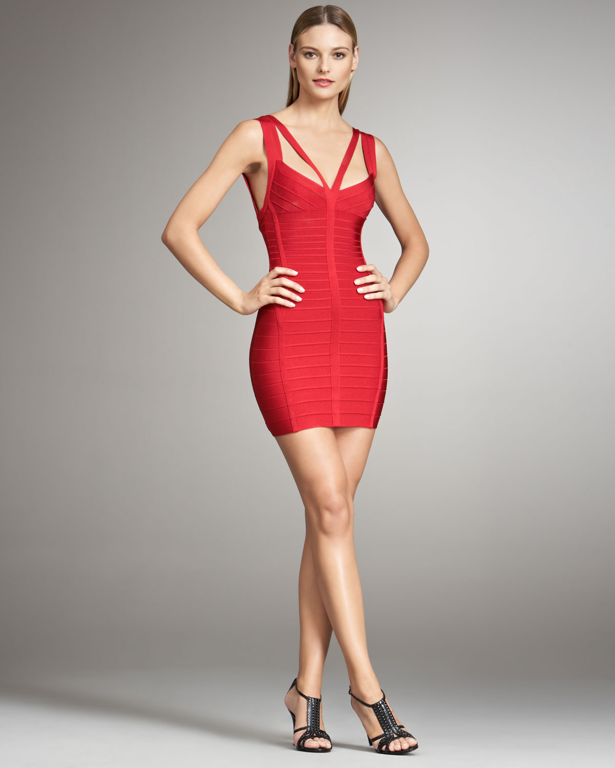 790ebefc4a93 Lyst - Hervé Léger Double-strap Bandage Dress in Red