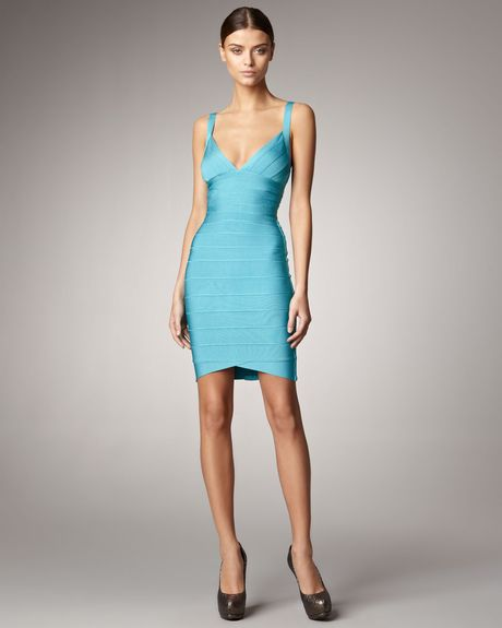 Hervé Léger Sleeveless Bandage Dress, Peacock in Blue (peacock) - Lyst
