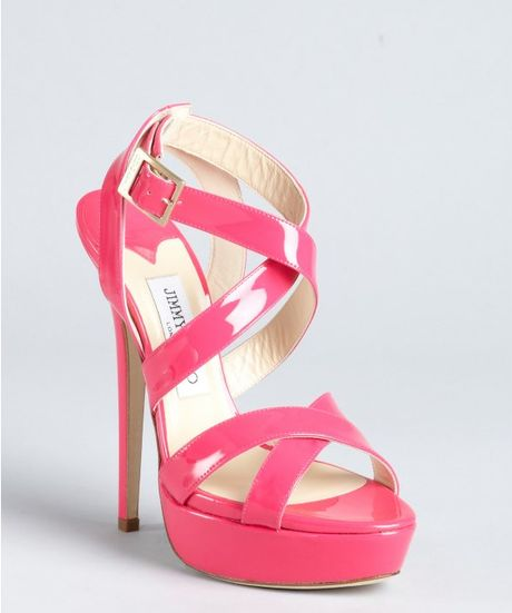 Jimmy Choo Hot Pink Patent Leather Louisa Crisscross Platform Sandals in Pink - Lyst
