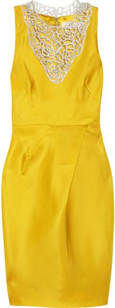 Lela Rose Embellished Woven Silk Organza Dress in Yellow (marigold) - Lyst