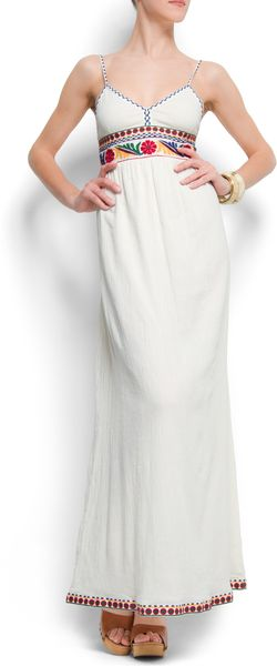 Mango Embroidered Cotton Maxidress - Lyst