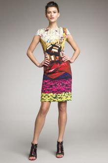 Mary Katrantzou Fitted Cap-sleeve Dress - Lyst