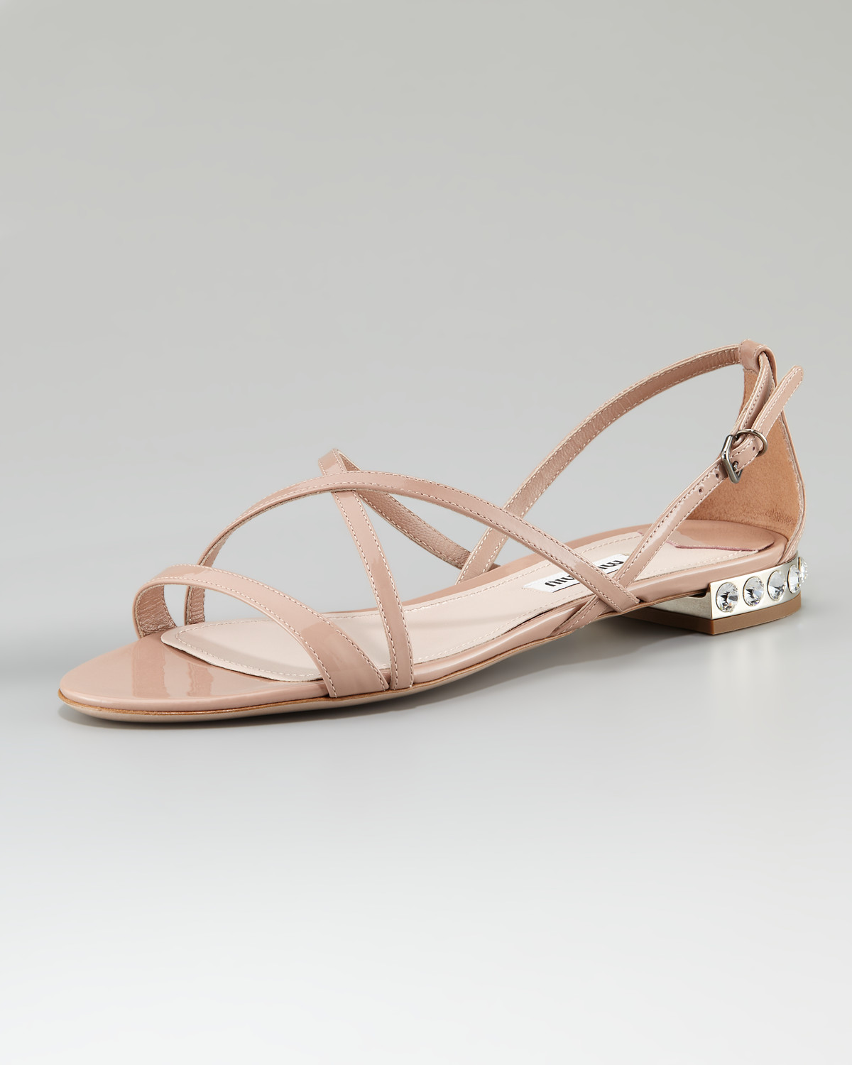 2530b1e10 Lyst - Miu Miu Bejeweled-heel Strappy Sandal in Natural