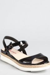 Prada Prada Sport Black Patent Leather Wedge Sandals - Lyst