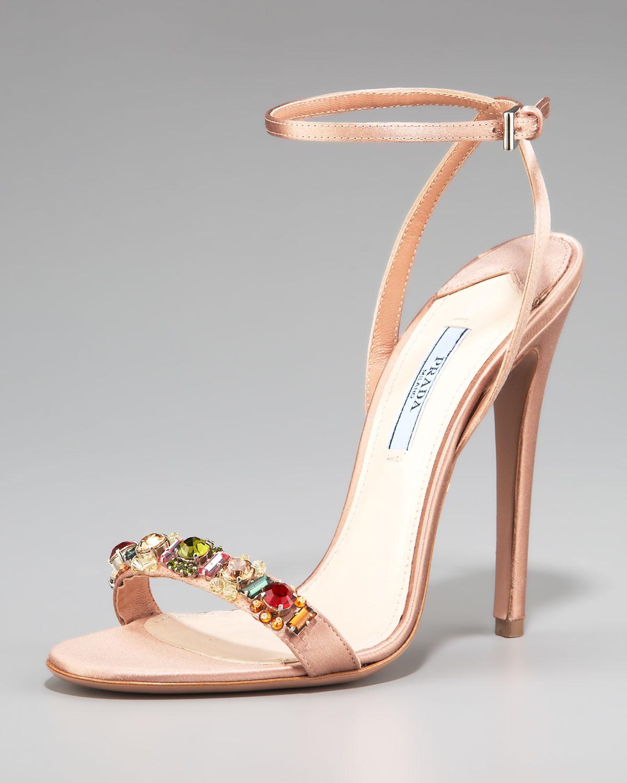 b439c4d51768 Lyst - Prada Silk Jeweled Ankle-strap Sandal in Natural