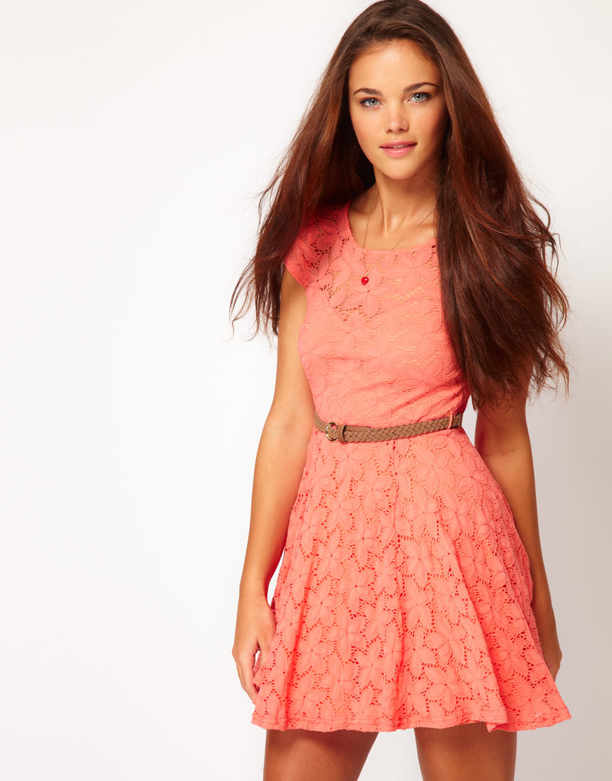 River island Lace Skater Dress with Cap Sleeve in Pink | Lyst