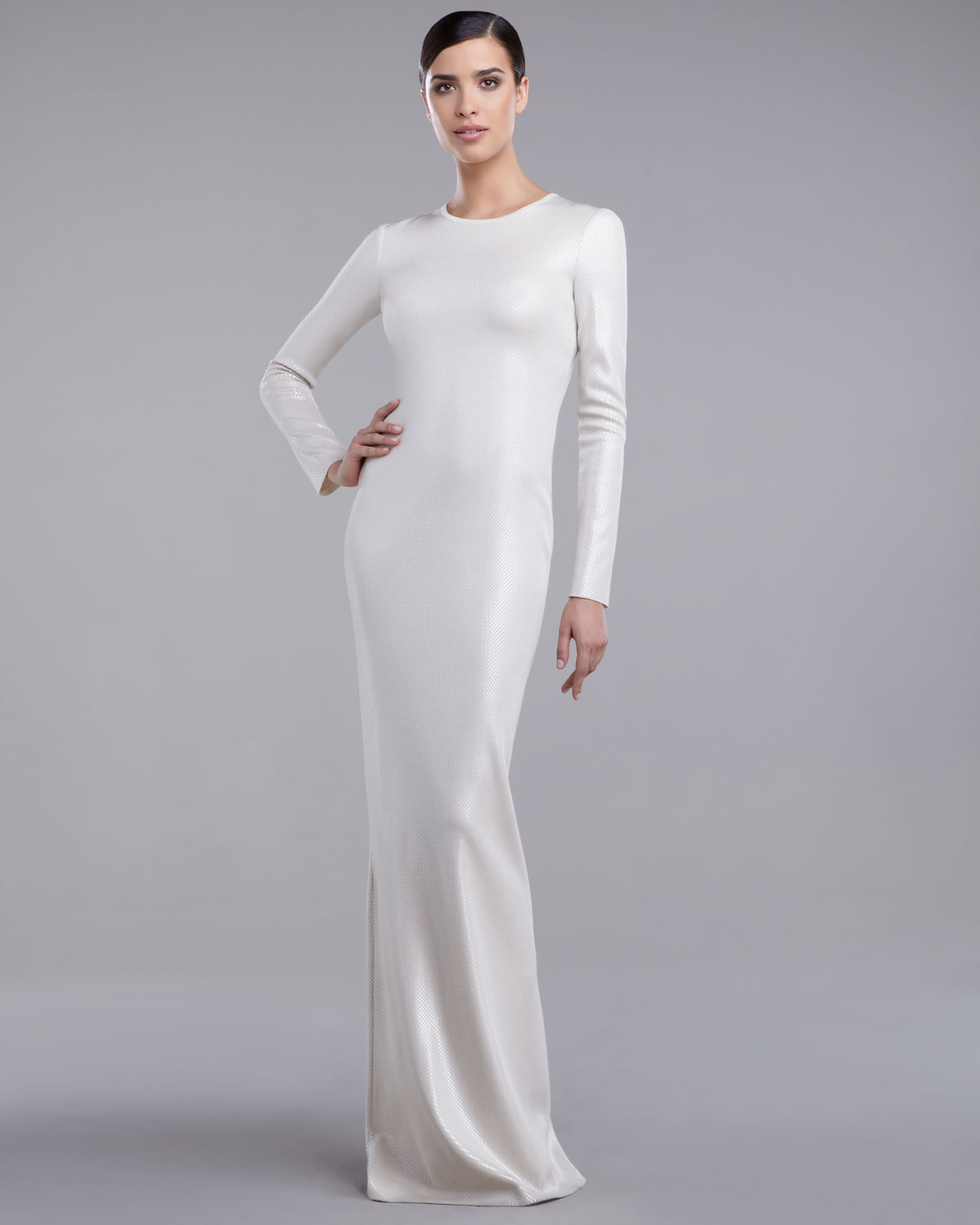 Lyst - St. John Milano Sequin Gown in White