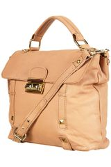 Topshop Leather Pyramid Lock Satchel in Beige (blonde) - Lyst