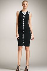 Versace Sheath Animal Inset Dress - Lyst