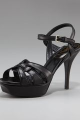 Saint Laurent Tribute Napa Sandal, 4 Heel - Lyst