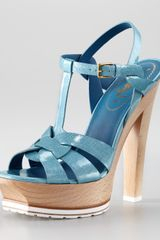 Yves Saint Laurent Tribute Wooden-heel Platform Sandal - Lyst