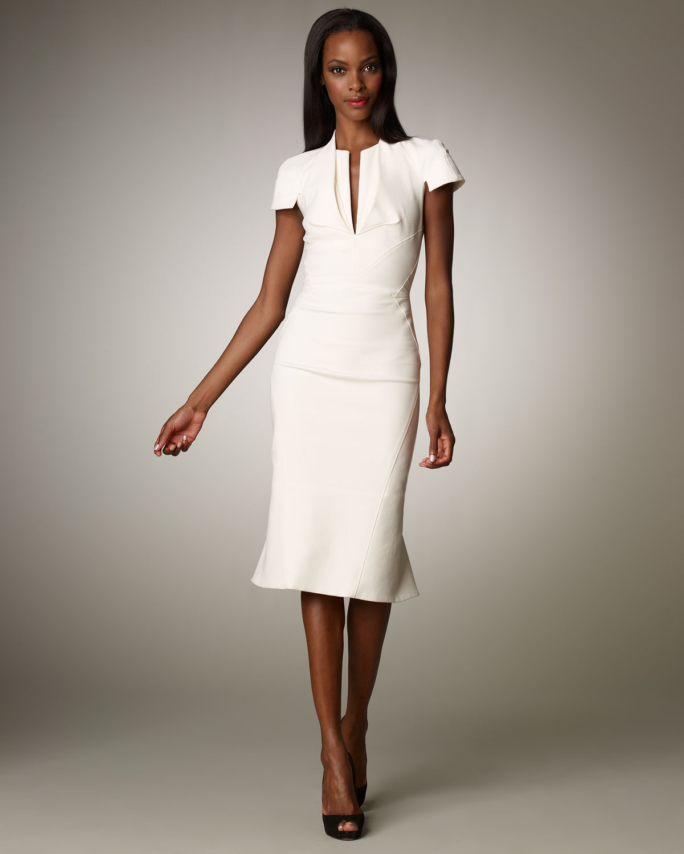 Zac posen Stretch Split V-neck Dress in White  Lyst