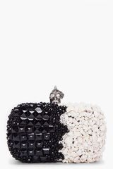 Alexander Mcqueen Black White Punk Shell Clutch in Black - Lyst