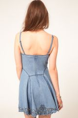 Asos Collection Asos Cutwork Strappy Denim Dress in Blue (lightblue) - Lyst
