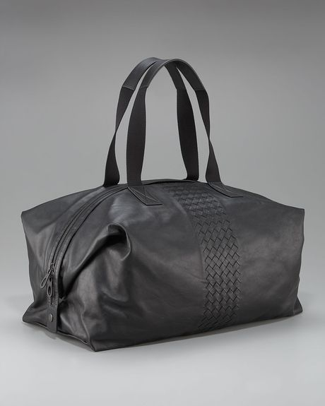 Bottega Veneta Wovendetail Leather Duffel Bag in Black for Men - Lyst