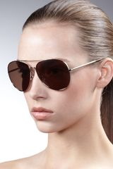 Burberry Etchedarm Aviator Sunglasses - Lyst